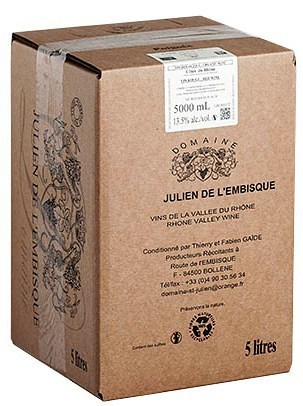 Julien de l'Embisque Côtes du Rhône rosé, 5 l bag in box, organic wine